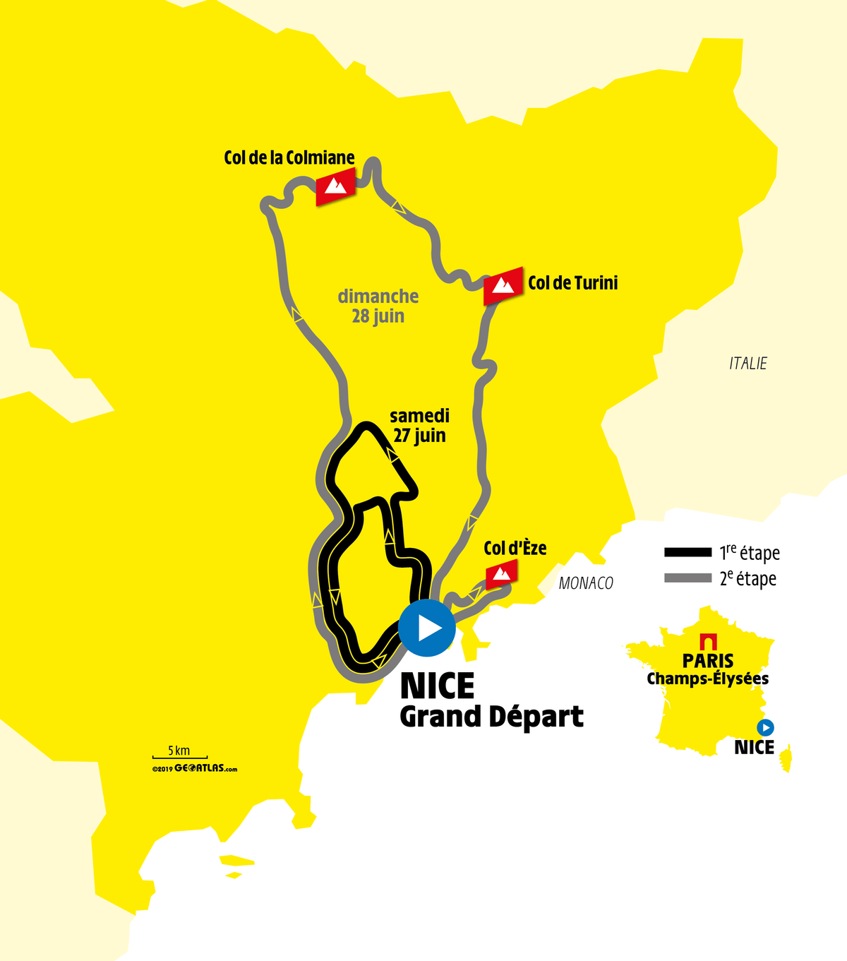 Tour de France grand depart map Nice 2020